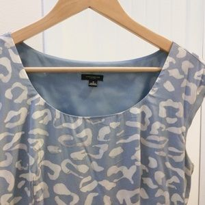 Classic Silk Sheath Dress - Blue Snow Leopard